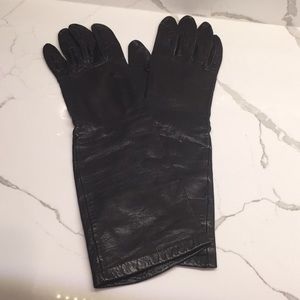 "Leather Gloves Silk Lining Black 13.5"" Vintage S 7"